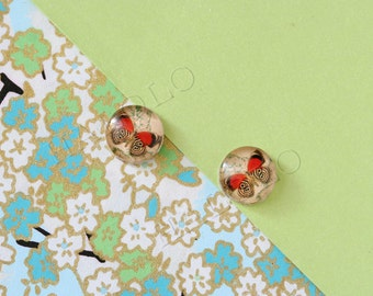 Sale - 10 pcs handmade red butterfly glass cabochons 12mm (12-0584)