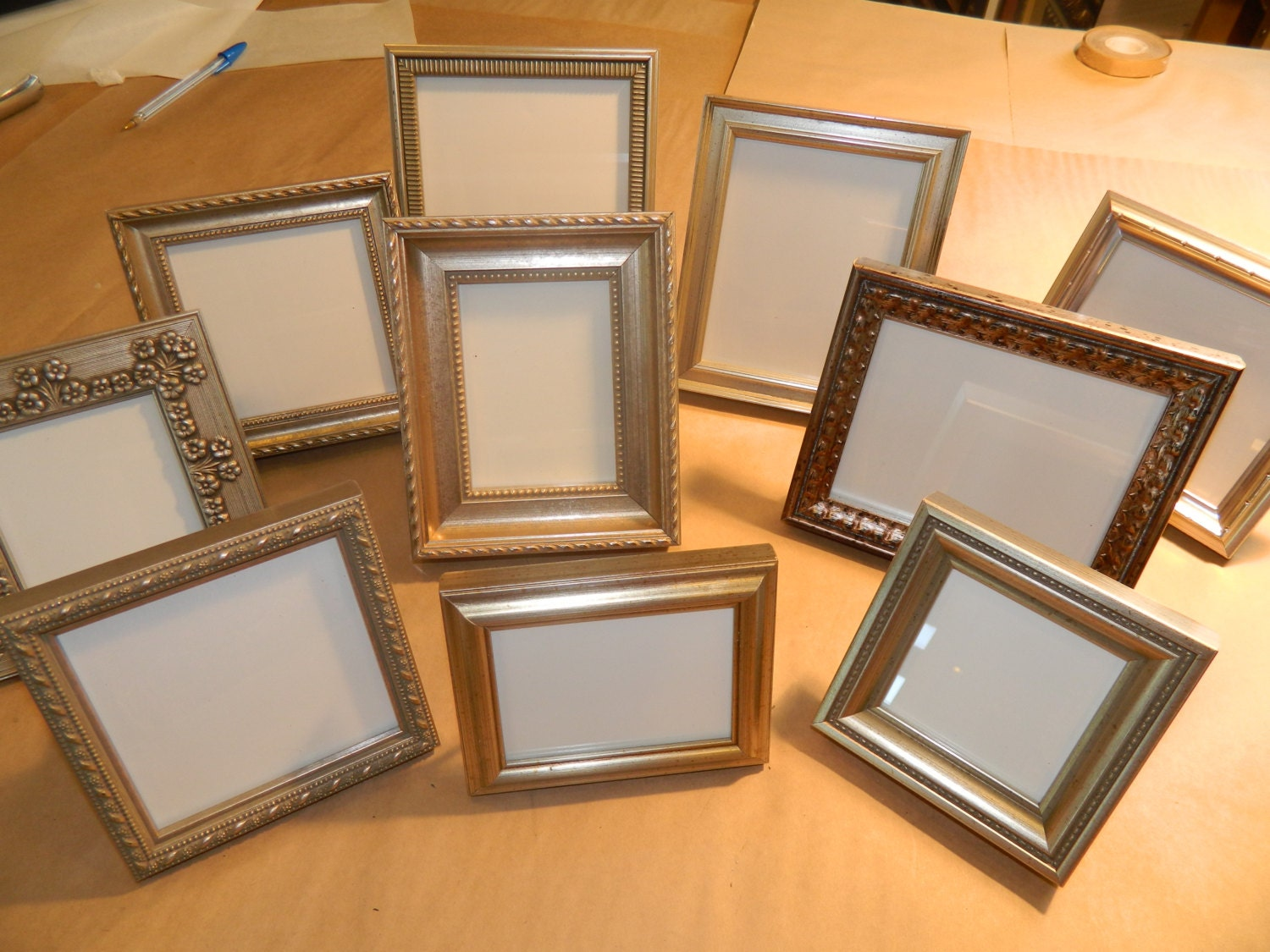 12 small silver frames for wedding party favors bridesmaids
