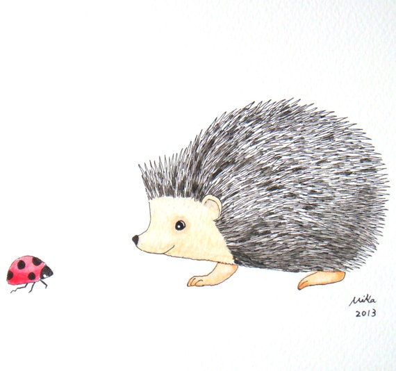 Hedgehog Ladybug Original Illustration Woodland Ink Drawing