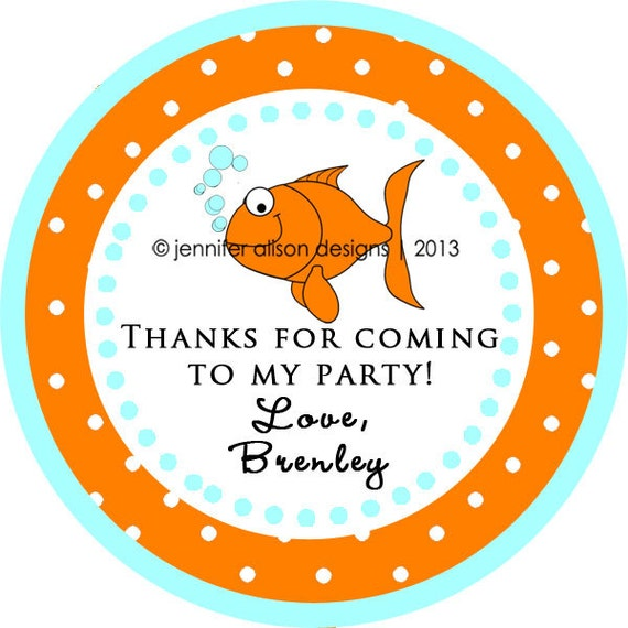 Goldfish Fish Thank You Personalized Stickers Tags