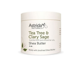 Unrefined Shea Butter - Tea Tree & Clary Sage, Organic, Pure Shea Butter, Fair Trade, Made With Essential Oils
