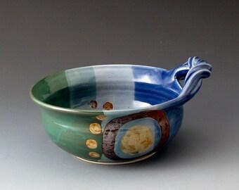 Soup Bowl with Handle, Blue and Green, Handmade Ceramic Bowl, Bowls, Fine Art Ceramics