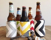 Can cozy, Beer Coozie, Reversible Chevron Can Coozie, drink coozy