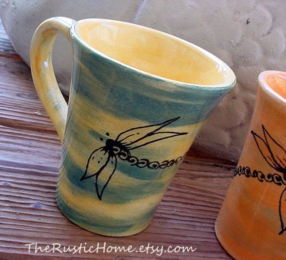 Dragonfly mug choose your desired colors coffee tea pottery ceramic