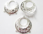 Silver Plated  Finish 3 way Dangle Filigree Earring Findings - 5 PAIR-