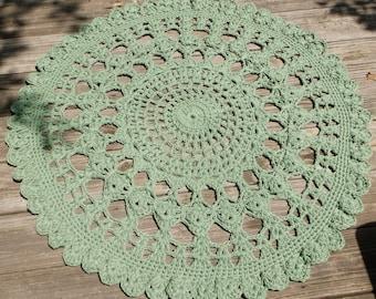"""Sage Green Cotton Crochet Doily Rug 34"""" Round"""