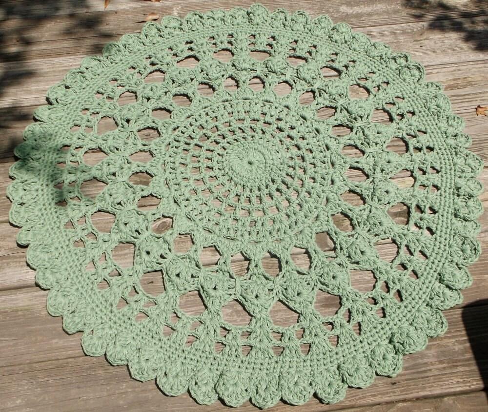 Sage Green Cotton Crochet Doily Rug 34 Round By