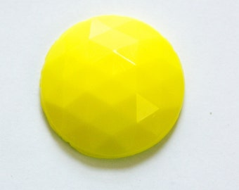 Vintage Yellow Faceted Glass Cabochon 32mm cab140J