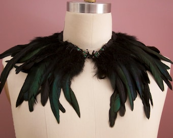 Black feather capelet with jewels