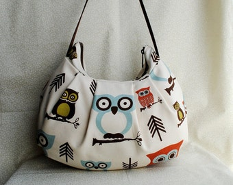 Pleated Bag // Shoulder Purse - Cute Owl