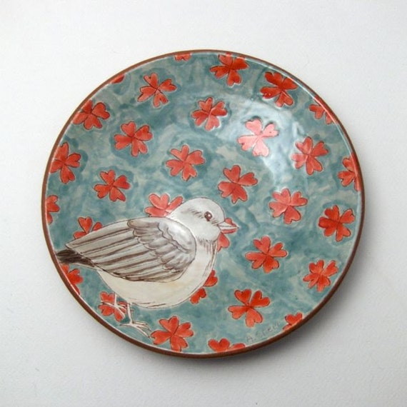 Wall Plate with Hand Drawn Bird and Pattern - OOAK