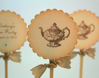 Tea Party Cupcake Toppers / Food Picks Teapot Personalized Name and Date Set of 10