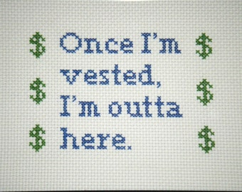 Custom Cross Stitch Sampler Retirement