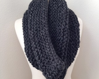 Chunky Knit Cowl Scarf in Charcoal Grey...