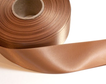Light Brown Ribbon, Double-Sided Light Caramel Brown Satin Ribbon 1 1/2 inches wide x 6 yards, 50% Off Sale