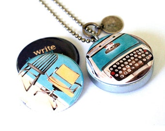 Blogger Locket Necklace - Vintage Typewriter Jewelry, Custom Stamped Initial, Writer Gift, Desk Chairs, Michele Maule Artwork by Polarity