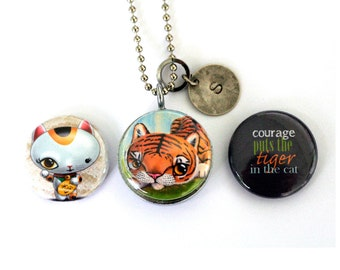 Tiger Locket Necklace - Cat Jewelry, Stamped Custom Initial Locket Courage Magnetic Girl Guy Gift Recycled by Polarity - Cuddly Rigor Mortis