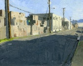 Pear Packing Plant, Medford, Oregon: Original Oil Painting Urban Plein Air Landscape