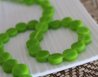 Small Resin Coin Beads - Lime Green - 10mm x 15
