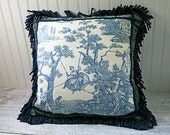Royal Blue Toile, Decorative Pillow Cover, French Country, Midnight Blue, Off White, Grey, Linen, Velvet, Cushion Case