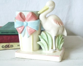 Vintage Stork Planter - Pottery - H F Co - Hand-painted in Japan