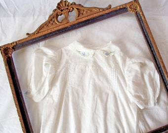Antique Baby Dress - Hand-Sewn White Cotton Voile - Hand Stitched - c. 1930s