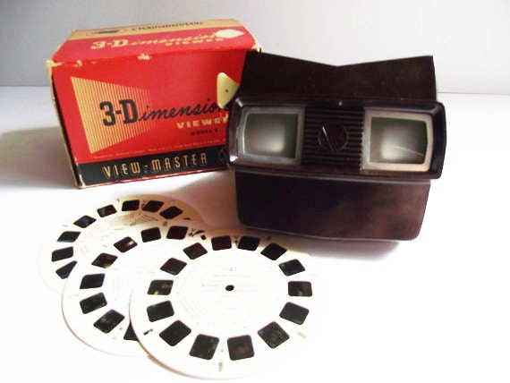 Vintage Bakelite View Master Model E - In Box with 3 Muir Woods Disks