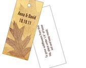 Plantable wedding gift  or favor tags, fall leaves, set of 25