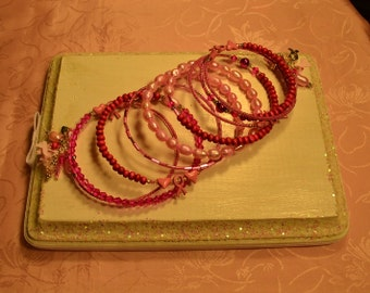 Hot Pink Crystals,Wood, Pearls Memory Wire Bracelet