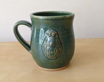Droop Monster - 12 oz Mug - Shiny Green with hand built big-bellied monster