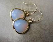 Pink Opal Glass Gold Earrings, Irisjewelrydesign