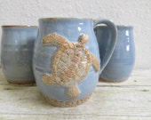 Giant Ceramic Sea Turtle Coffee Cup Blue Brown Stoneware Pottery Large Handmade Giant Mug