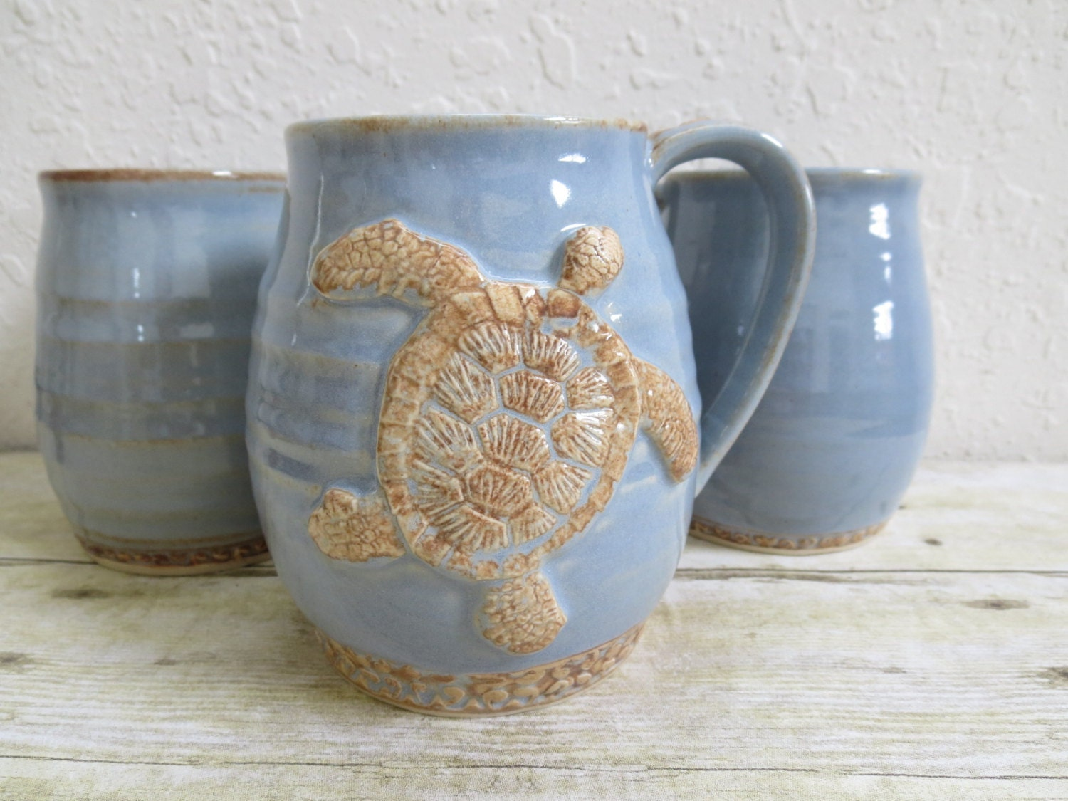 Giant Ceramic Sea Turtle Coffee Cup Blue Brown Stoneware