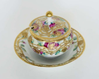 Vintage Hand Painted Mustard Dish/Condiment Dish With Floral Motif and Gold Beaded Trim.