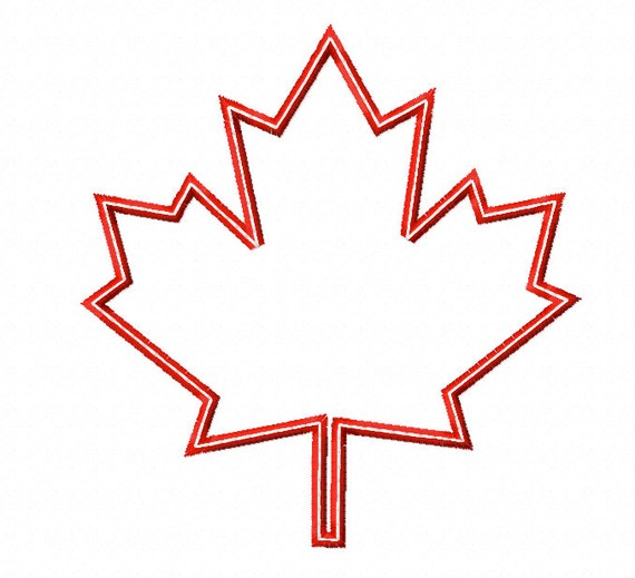 Maple leaf applique machine embroidery design four sizes