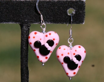 Magical Pink Hearts Disney Inspired Mickey and Minnie Mouse Lampwork DeSIGNeR EaRRiNgs
