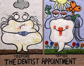 The Dentist Appointment Dental Art Collectable Print Teeth Anthony Falbo