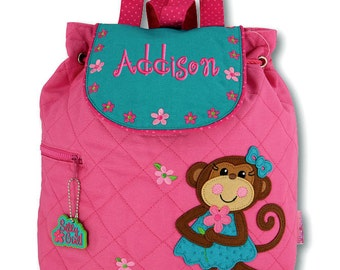 Girls Backpack Personalized Monkey Stephen Joseph Quilted Preschool Toddler