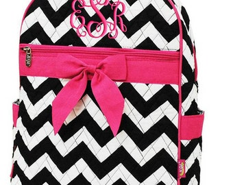 Children Personalized Backpack Black Chevron Hot Pink Bookbag Quilted Monogrammed
