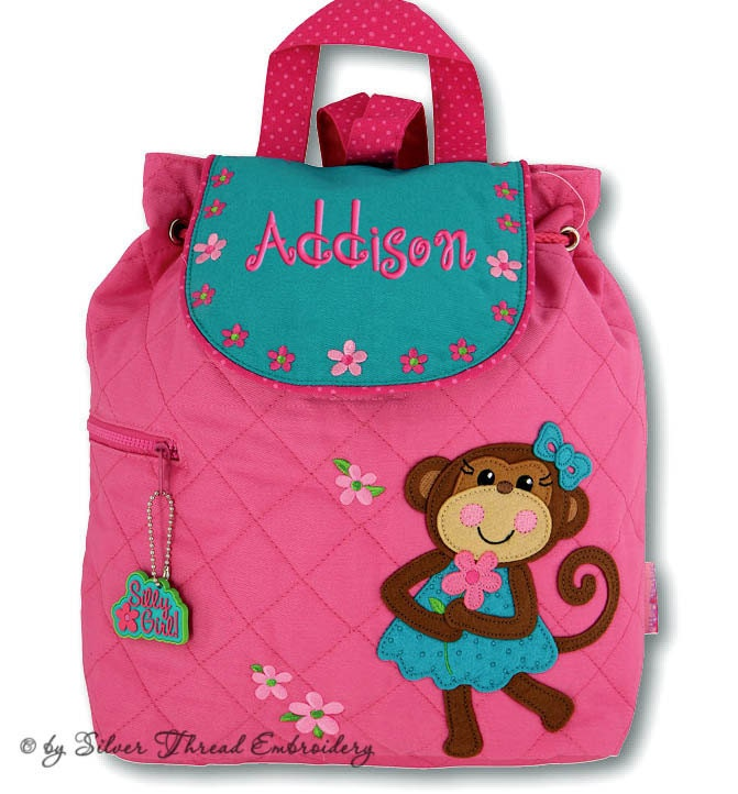 girls backpack personalized monkey stephen joseph quilted