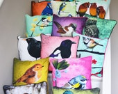 Cushion cover for throw pillow - Set of four, with birds of your choice- 16x16inch // 40x40cm