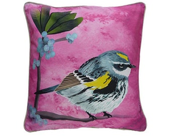 Cushion cover for throw pillow with bird - Yellow Rumped Warbler - 16x16inch // 40x40cm