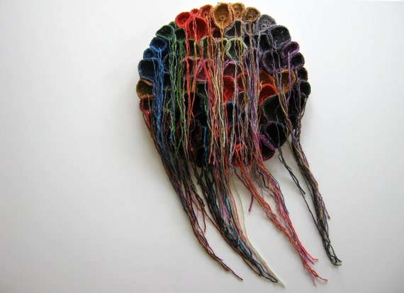 Tentacles Fiber Art Wall Hanging, Free Form Crochet, Colorful Wool
