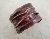 Red copper cuff bracelet. Line folds. Fold forming. Industrial. Rocker. Grunge style - DevineDesignsJewelry