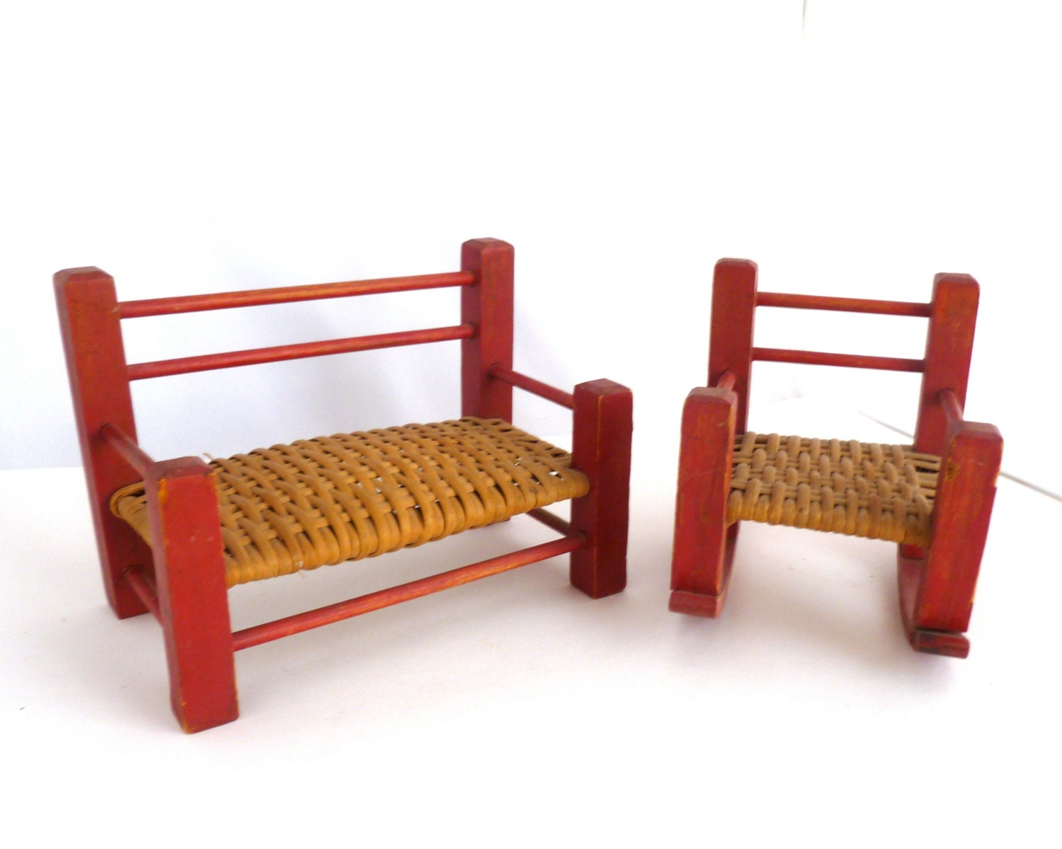 Miniature Red Rocking Chair ~ Miniature furniture red bench and rocking chair with