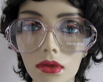 70s Eyewear .  Pink and Blue glasses .  vintage eyewear . Horizon Optics . eye glasses frame