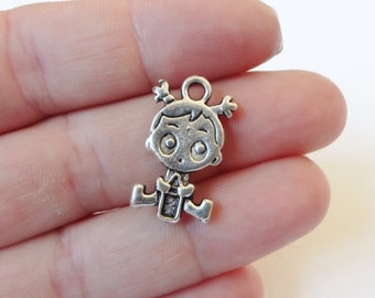 6 Baby Girl Charms (double sided) 12.5x23x2.5mm