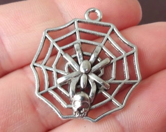 10, Spider, Web, Skull, Halloween Charms 27x29x3mm