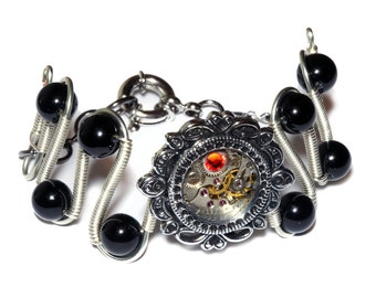 Steampunk Jewelry -  Bracelet - Fire Opal Crystal and antique watch movement