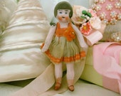 RESERVED for 10/17 Antique German Dollhouse Flapper Girl Doll in Silk Clothes